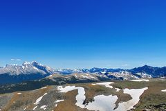 Jasper Mountain Panorama. A blue sky with a wide panorama of the Canadian Rockies. The view of a rewarding day hike near Maligne Lake in Jasper National Park Royalty Free Stock Photography