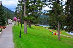 Jasper Park Lodge, Rocky Mountains, Westelijk Canada stock fotografie