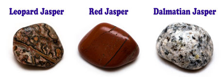 Jasper rocks. Three different types of polished jasper rocks Royalty Free Stock Photos