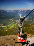 Jasper Sky Tram, Canadian Rockies,. A cable-car coming up the mountain above Jasper in the Canadian Rockies. Jasper Sky Tram. Canada Stock Photography