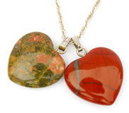 Jasper and unakite hearts Stock Photo