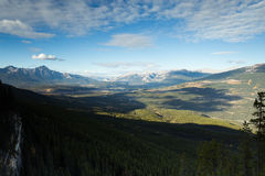 Jasper Valley. A landscape view of Jasper surrounded by massive mountains and pine tree forests Stock Images