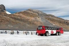 JASPIS, ALBERTA/CANADA - SIERPIEŃ 9: Śniegu trener na Athabasca Fotografia Stock