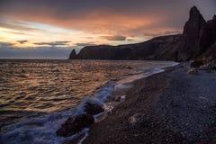 Jaspis plaża, przylądek Fiolent Obrazy Stock