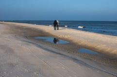 Jastarnia strand i vintern Arkivbilder