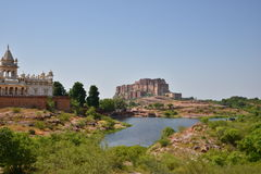 Jaswant Thada Mausoleum and Majestic Mehrangarh Fort located in Jodhpur, Rajasthan,India. Stock Photo