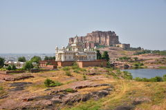 Jaswant Thada Mausoleum and Majestic Mehrangarh Fort located in Jodhpur, Rajasthan,India. Stock Image