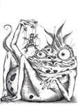 Jaszczurka i kukła Obrazy Royalty Free