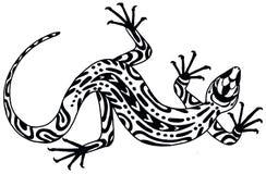 Jaszczurka - rysujący w etnicznym stylu szczotkarski węgiel drzewny rysunek rysujący ręki ilustracyjny ilustrator jak spojrzenie  Fotografia Stock