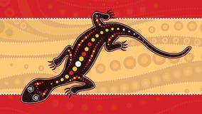 Jaszczurka wektor, Tubylczy sztuki tło z jaszczurką, Krajobrazowa ilustracja opierająca się na aborygenu stylu kropka obraz Obraz Stock