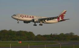 Jato das vias aéreas de Qatar Fotografia de Stock