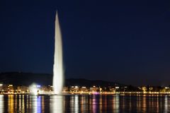 Jato de água de Genève Genebra do d'eau do jato Foto de Stock