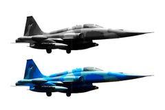 Jato de dois aviões de combate no fundo branco foto de stock royalty free