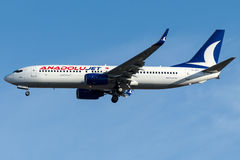Jato de TC-JFJ Anadolu, Boeing 737 - 800 nomearam AGRI Imagem de Stock