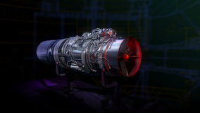 Jato do vermelho do encanto do preto do motor de turbojato ilustração stock