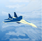 Jato plano reativo com piloto para dentro nas nuvens ilustração do vetor