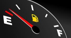 Jauge de carburant montrant le réservoir vide Photographie stock