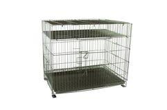 Jaula de acero para los animales domésticos en blanco aislado imagen de archivo