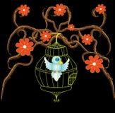 Jaula de pájaro con las ramificaciones ornamentales del diseño Foto de archivo libre de regalías
