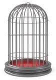 Jaula de pájaro de plata aislada en blanco Imagenes de archivo