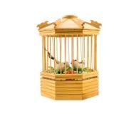 Jaula de pájaros de madera Fotografía de archivo libre de regalías