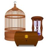 Jaula y ataúd y reloj de arena de madera Imagen de archivo libre de regalías