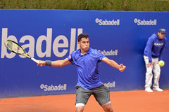 Jaume Munar sztuki przy ATP Barcelona Otwierają Banc Sabadell Conde De Godo turniej (Hiszpański gracz w tenisa) Obrazy Stock