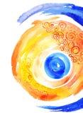 Jaune abstrait de fond d'aquarelle avec la couleur bleue Photographie stock libre de droits