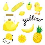jaune Apprenez la couleur Ensemble d'éducation Illustration de couleurs primaires Photo stock
