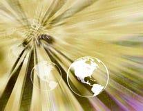 jaune binaire de globes de la terre Photographie stock libre de droits