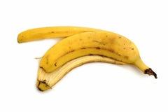 jaune blanc de peau d'isolement par fruit de banane de fond Photographie stock libre de droits