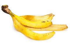 jaune blanc de peau d'isolement par fruit de banane de fond Photo libre de droits