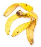 jaune blanc de peau d'isolement par fruit de banane de fond Images stock