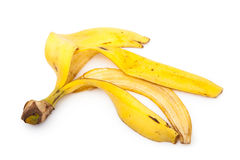 jaune blanc de peau d'isolement par fruit de banane de fond Image stock