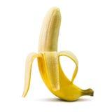 jaune blanc de peau d'isolement par fruit de banane de fond Photographie stock