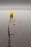 Jaune bouy sur une chaîne sur une plage photo stock