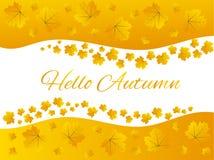 Jaune d'or bonjour Autumn Maple Leaves Border Frame illustration libre de droits