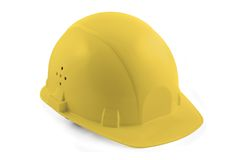 jaune d'isolement de casque antichoc Photo stock