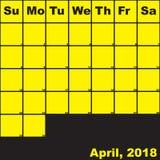 Jaune de 2018 avril sur le calendrier noir de planificateur Photos stock