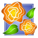 Jaune de clipart (images graphiques) de Rose sur le bleu Photos stock