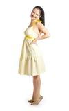 jaune de fille de robe Photo libre de droits