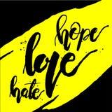 Jaune de haine d'amour d'espoir Images libres de droits
