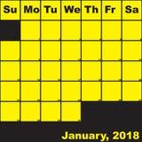 Jaune de 2018 janvier sur le calendrier noir de planificateur Images libres de droits