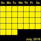 Jaune de 2018 juillet sur le calendrier noir de planificateur grand Photos libres de droits