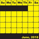 Jaune de 2018 juin sur le calendrier noir de planificateur Image libre de droits