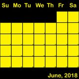Jaune de 2018 juin sur le calendrier noir de planificateur grand Photos libres de droits