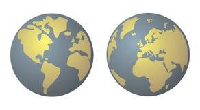 Jaune de la terre de planète et vecteur bleu de denim d'isolement Photos libres de droits