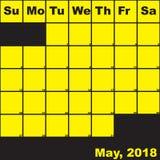 Jaune 2018 de mai sur le calendrier noir de planificateur Images libres de droits