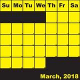 Jaune de 2018 mars sur le calendrier noir de planificateur Image stock