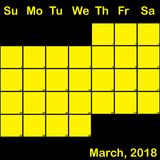 Jaune de 2018 mars sur le calendrier noir de planificateur grand Image stock